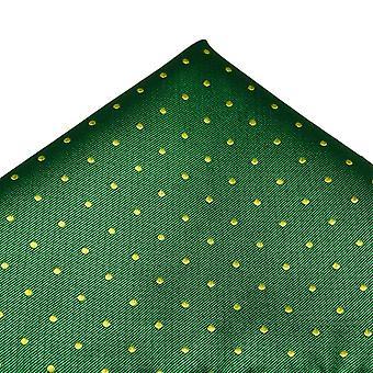 Ties Planet Green & Yellow Polka Dot Luxury Silk Pocket Square Handkerchief