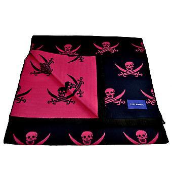 Krawatten Planet Lupi Romani Marine & Fuchsia rosa Schädel & gekreuzte Schwerter gemusterte Doppel Gesicht Schal