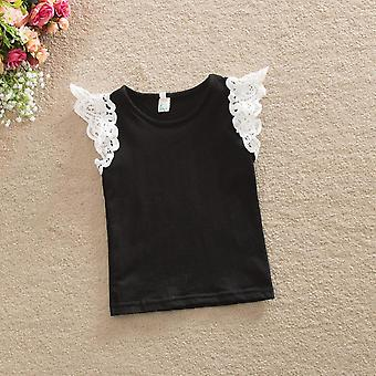 Summer Infant Cotton T-shirt, Baby Princess Lace Sleeve Tops
