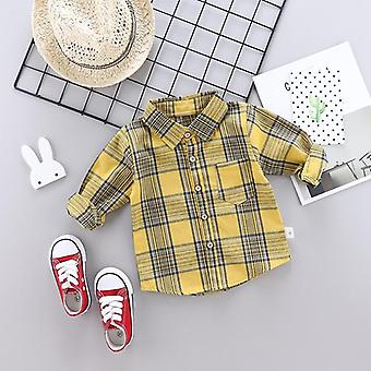 Spring Autumn Kids Plaid Shirt Cotton Long Sleeve Casual Shirts For Boys Girls