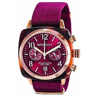 Briston Clubmaster Klassisk Acetate Kronograf Klocka - Bourgogne / Rose Guld