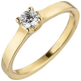 Kvinnors Ring 585 Guld gult guld 1 Diamond Brilliant 0.15ct. Diamantring patiens