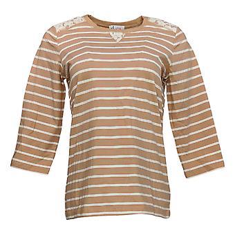 Denim & Co. Women's Top Jersey 3/4 Sleeve W/ Lace Detail Beige A252687
