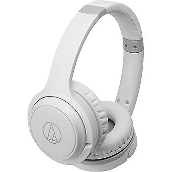 Audio-technica ath-s200btwh bluetooth wireless on-ear headphones with built-in mic & controls, white