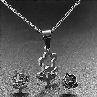 Silver Color Stainless Steel-necklace, Earring Sets, Bear Cross Clover Never