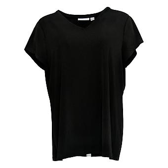 Susan Graver Women's Top Solid Liquid Knit Short Sleeve Black A380018