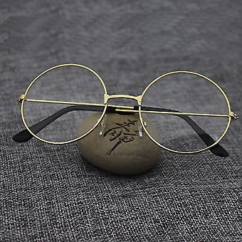 Hommes Femmes Fashion Metal Frame Clear Lens Oversized Round Eye Glasses.