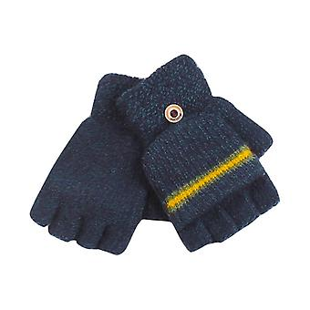 Exposing Fingers Patchwork Button Gloves Driving Ski Play Mobile Phone