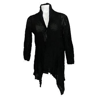 Laurie Felt Women's Sweater Open-Front Asymmetric Cardigan Negro A352573