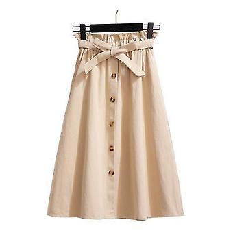 Pojedyncza zapięta kokardka solidna bawełniana spódnica kobiety na lato slim retro pasek kieszeni