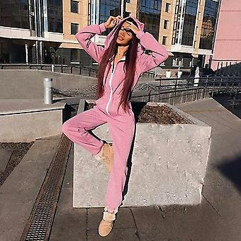 Rosa Casual manga larga monos largo Rompers zipper Fitness Invierno