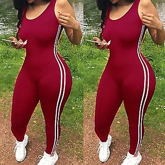 Women Striped Tight Romper One Piece Leggings Pants Jumpsuit Athletic Romper