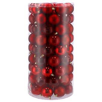 Baubles red - 6 cm diameter - 100 pieces - plastic