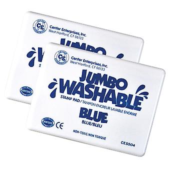 Jumbo Washable Unscented Stamp Pad, Blue, Pack Of 2