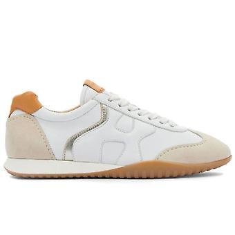 Kvinnors Sneaker Hogan Olympia Z Vit och Beige Läder och Mocka