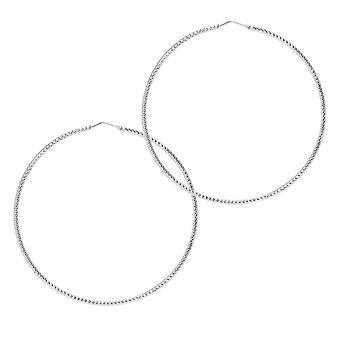 The Hoop Station Roma Diamond-Cut Silver 75 Mm Hoop Earrings H93S