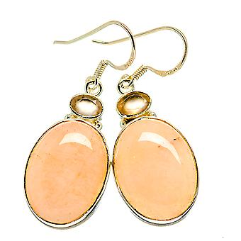"Pink Opal, Citrine Earrings 1 3/4"" (925 Sterling Silver)  - Handmade Boho Vintage Jewelry EARR411064"