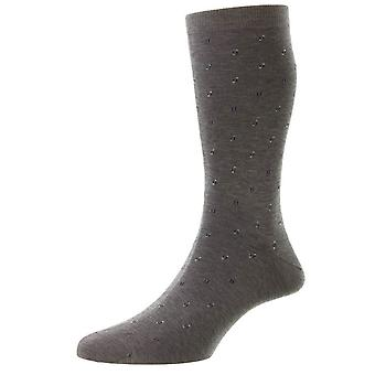 Pantherella Addison Neat Motif y Spiral Fil D'Ecosse Calcetines - Mid Grey Mix