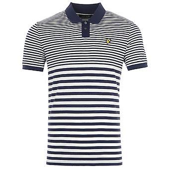 Lyle & Scott Multi Stripe Polo Shirt - Navy & Vanilla Ice