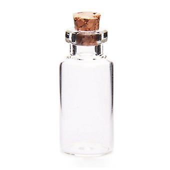 Small Transparent Cork Glass Bottles 10pcs