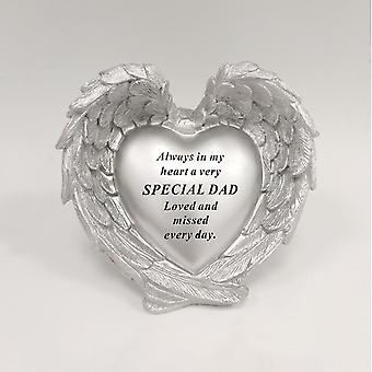 David Fischhoff Silver Heart In Wings Special Dad Remembrance Ornament