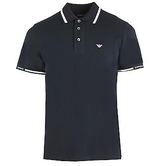 Emporio Armani Logo Marineblå Tippet Polo Skjorte