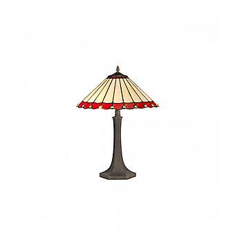Lámpara De Mesa Tiffany Calais 2 Bombillas Rojas De 40 Cm