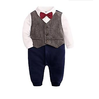 Infant Boys Mâneci lungi Gentleman Bumbac Rompers, Outfit cu papion 12-18Luni