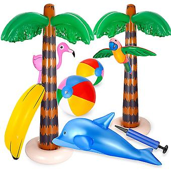 Ucradle 9pcs Inflatable Palm Trees Flamingo Toys, Inflatable Beach Balls Flying Parrot Dolphin for