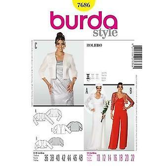 Burda Couture Modèle 7686 Femmes Bolero Manches Veste Taille 10-22 Uncut
