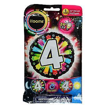 Aluminium ballon nummer 4 veelkleurige LED Illooms® 50 cm