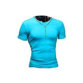 Mens T-skjorte V-Neck Sport Slimfit Clubwear Skjorte Form-passende body-fit Basic