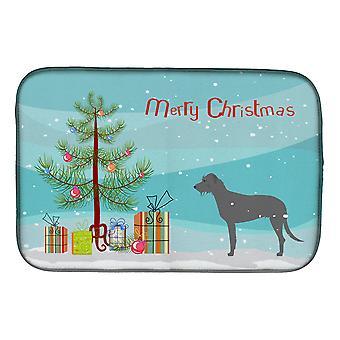 Caroline'S Treasures Irish Wolfhound Merry Christmas Tree Dish Drying Mat, 14 X 21, Multicolor
