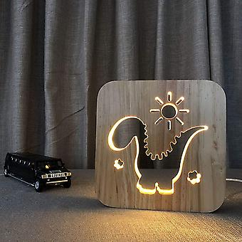 Usb Night Light In Carved Wooden Pattern 3d Animal Paw Play Basketball.