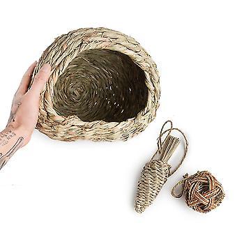 Uusi olki kani pesä reed lehdet lemmikki tarvikkeet Orava Marsu Mini Kani Pesä ES4895