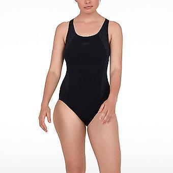 Speedo Boomstar Splice Flyback Womens Swimming Swimsuit Costume Black