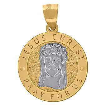 10k To tone Gold Herre Tekstureret Jesus Bede for os Religiøs Charme Vedhæng Halskæde Smykker Gaver til mænd