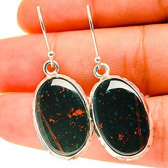 """Bloodstone Earrings 1 1/2"""" (925 Sterling Silver)  - Handmade Boho Vintage Jewelry EARR417135"""