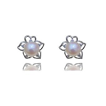 S925 Silver Love Petal Stud Earrings Natural Pearl