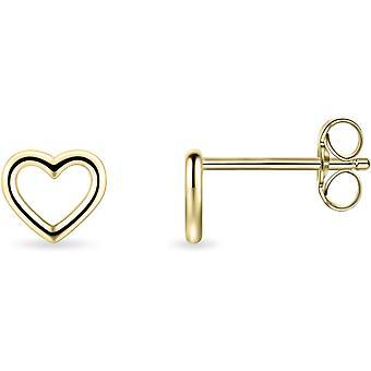 Gisser Joyas - Pendientes - Pendientes Corazón Abierto Liso - 6.5mm x 7mm - Oro Amarillo de 14 Quilates