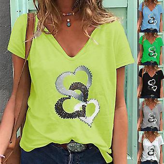 Plus Size Kvinders V-nec Print Toppe Casual T-shirt Sommer Kortærmet Bluse Tee