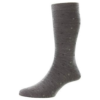 Pantherella Durban Neat Motif Merino Wool Socks - Mid Grey Mix