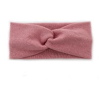 Kötött kereszt egyszínű széles oldalú sport alkalmi fejpánt (rózsaszín)
