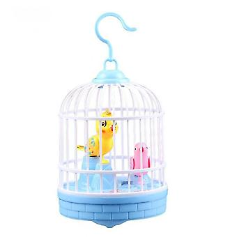 Singing And Chirping Bird In Cage Realistic Sounds Movements Bird Figurines(Blue)