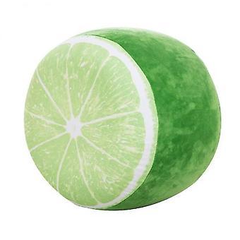 3d Fruit Inflatable Stool Throw Pillow Watermelon Orange Cushion(Green)