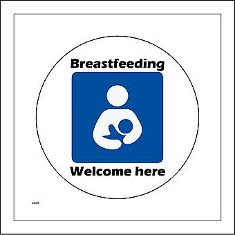 GE229 Breastfeeding Welcome Here Sign with Woman Baby