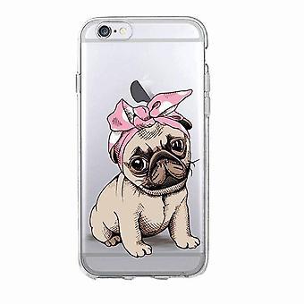 iPhone 12, 12 Pro & Max gennemsigtig shell hund pug med bandana