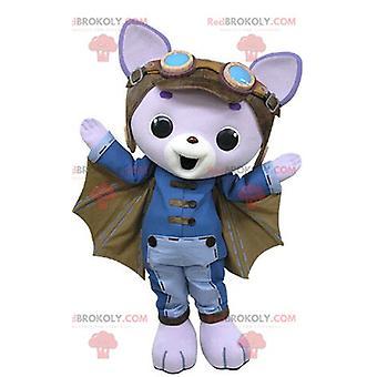 Mascote REDBROKOLY.COM gato roxo com asas de morcego