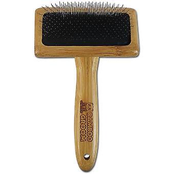 Bamboo Groom Angled Dog Slicker Brush