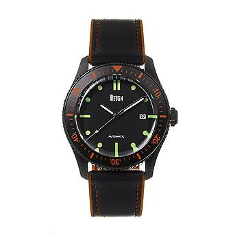 Reign Elijah Automatic Rubber Inlaid Leather-Band Watch W/Date - Black/Orange
